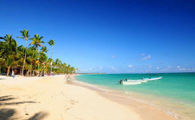 Sandy beach on Caribbean resort